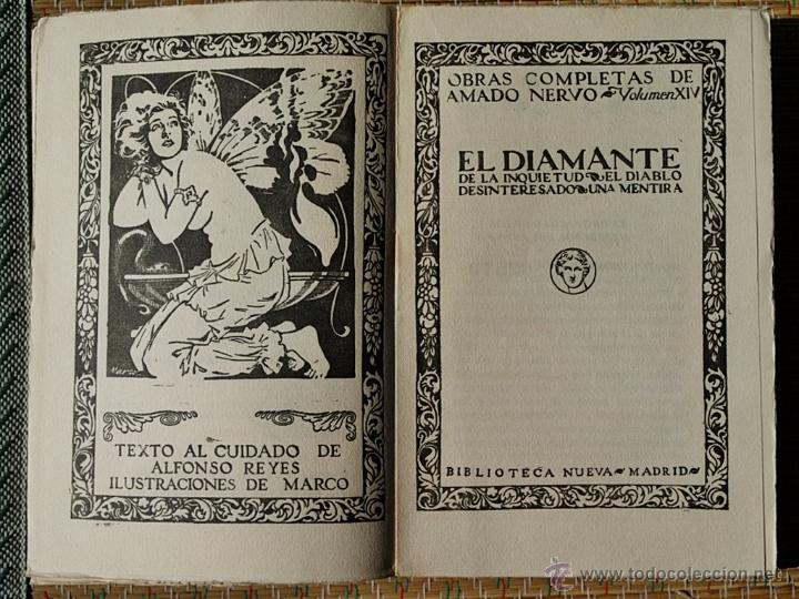 Libros antiguos: OBRAS COMPLETAS DE AMADO NERVO XIV - El diamante de la inquietud - Biblioteca Nueva 1927 - Foto 4 - 48060212
