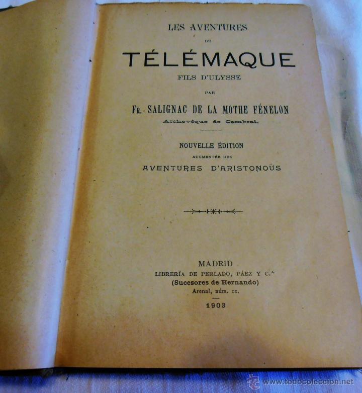Libros antiguos: FÉNELON, AVENTURES DE TELÉMAQUE - Foto 2 - 48525501