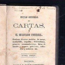 Libros antiguos: ESTILO GENERAL DE CARTAS O EL SECRETARIO UNIVERSAL. 9º EDICION. MADRID. IMPRENTA RAMON CAMPUZANO.. Lote 48623892