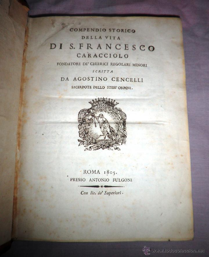 Libros antiguos: COMPENDIO STORICO DELLA VITA DI F.CARACCIOLO - AÑO 1805 - IN 4º. - Foto 3 - 49017302