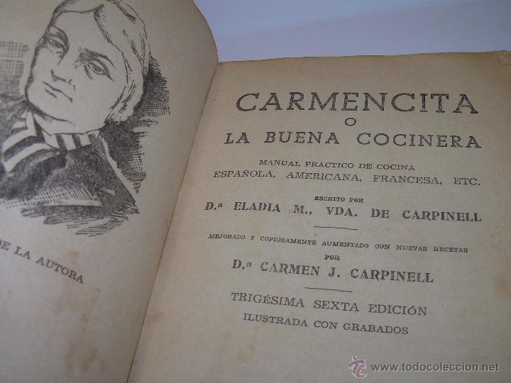 Libros antiguos: CARMENCITA O LA BUENA COCINERA. - Foto 4 - 49086608