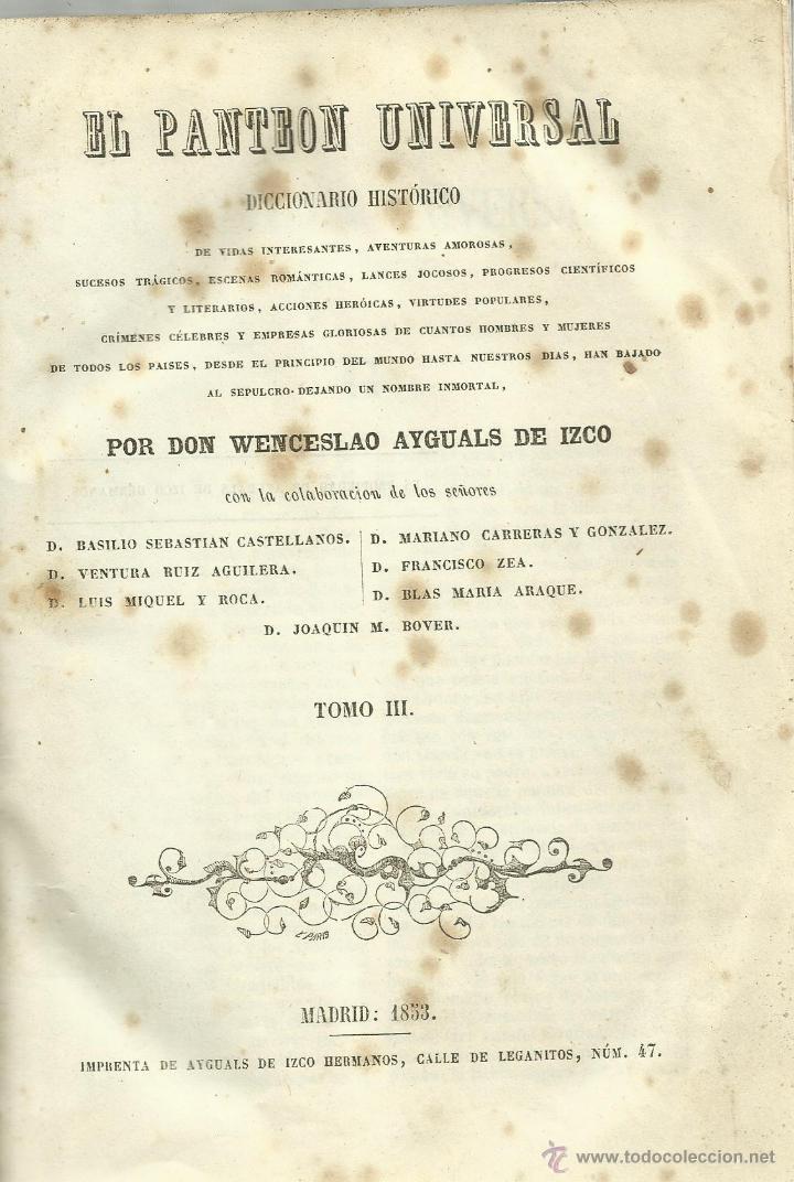 EL PANTEON UNIVERSAL, TOMO III (Libros Antiguos, Raros y Curiosos - Ciencias, Manuales y Oficios - Otros)