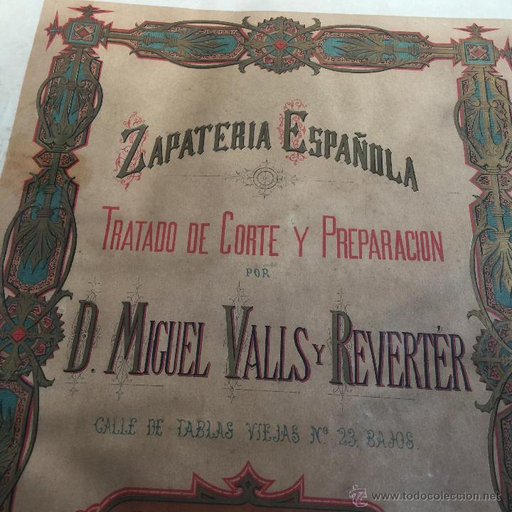 Libros antiguos: Espectacular libro ZAPATERIA ESPAÑOLA.Tratado de corte y preparacion. Miguel Valls. Tortosa. 61x44cm - Foto 10 - 49204921
