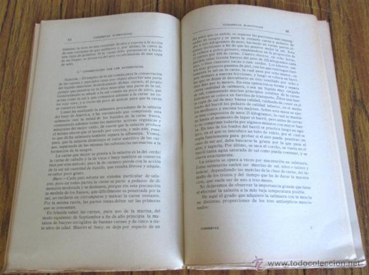 Libros antiguos: CONSERVAS ALIMENTICIAS -- Preparación de las carnes, pescado, leche, manteca, frutos, hortalizas - Foto 9 - 49336562