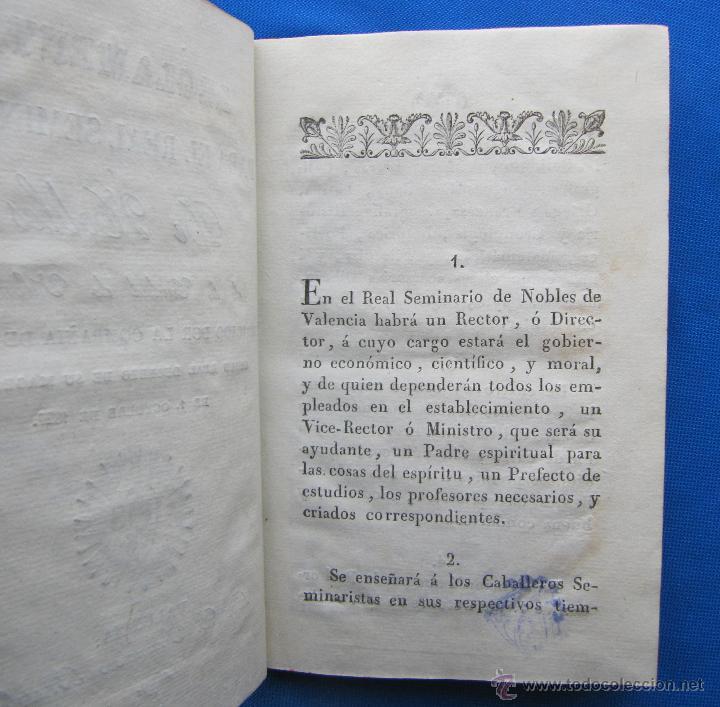 Libros antiguos: REGLAMENTO PARA EL REAL SEMINARIO DE NOBLES DE LA CIUDAD DE VALENCIA. POR D. FRANCISCO BRUSOLA, 1829 - Foto 5 - 49416642
