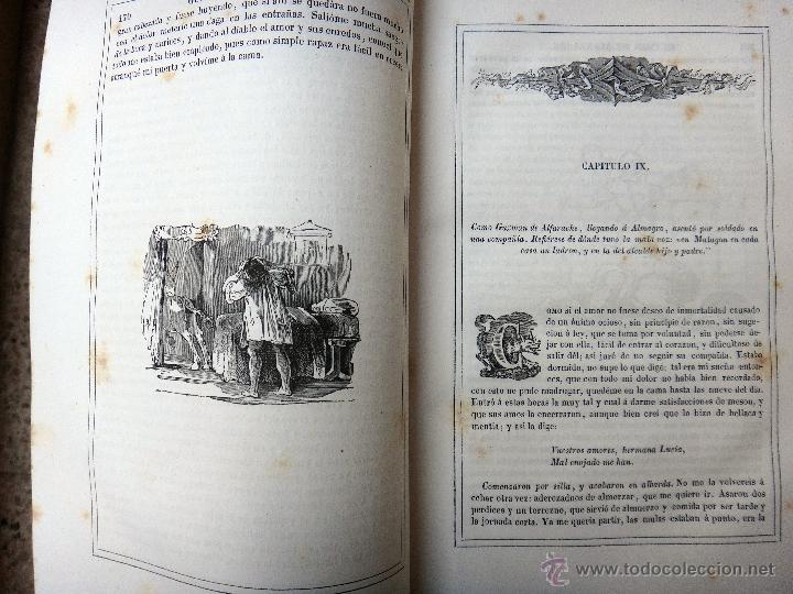 Libros antiguos: LIBRO GUZMAN DE ALFARACHE EL PICARO , 2 LIBROS EN 1, , ORIGINAL - Foto 5 - 49513388