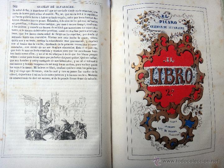 Libros antiguos: LIBRO GUZMAN DE ALFARACHE EL PICARO , 2 LIBROS EN 1, , ORIGINAL - Foto 8 - 49513388