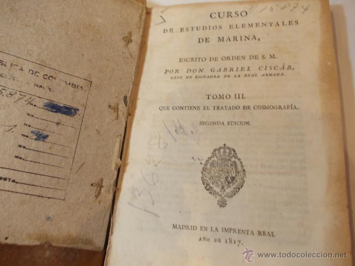ANTIGUO LIBRO DE CURSO DE ESTUDIOS ELEMENTALES DE LA MARINA (Libros Antiguos, Raros y Curiosos - Ciencias, Manuales y Oficios - Otros)