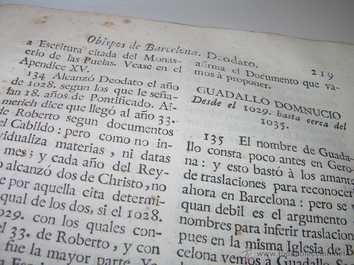 Libros antiguos: IMPORTANTE LIBRO DE PERGAMINO.ESPAÑA SAGRADA...BARCELONA...GOBERNADORES, CONDES, OBISPOS, SANTOS ETC - Foto 28 - 49540933