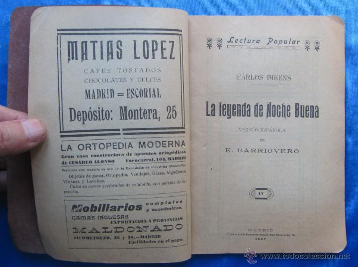 Libros antiguos: LA LEYENDA DE NOCHE BUENA. CARLOS DIKENS DICKENS. LECTURA POPULAR AÑO I, Nº 4. MADRID, 1907. - Foto 2 - 49556038