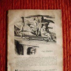Libros antiguos: 1870C-TREN FERROCARRIL VIAS FERREAS LIBRO EN ESPAÑOL GRANDES INVENTOS. 20 GRABADOS.ORIGINAL. Lote 49656352