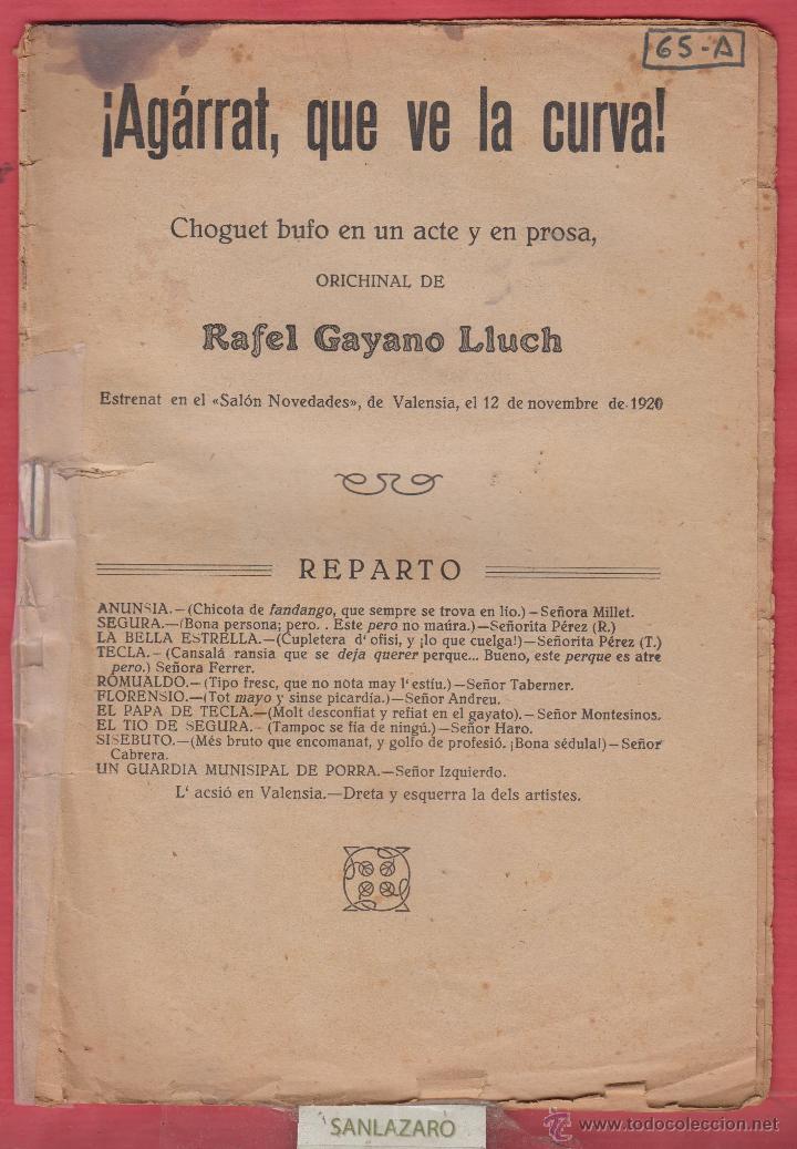 ¡AGARRAT QUE VE LA CURVA!-RAFEL GAYANO LLUCH-EDITORIAL CARCELLER-1926-LTEA88 (Libros Antiguos, Raros y Curiosos - Otros Idiomas)