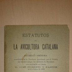 Libros antiguos: 1890 - ESTATUTOS DE LA AVICULTORA CATALANA, S.A. BARCELONA GALLINAS. Lote 49923467
