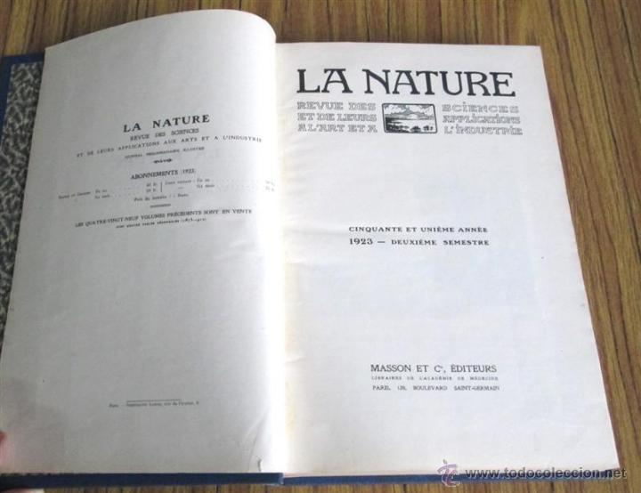 Libros antiguos: LA NATURE - Revue des sciences - Et de leurs applications aux art et a l´industrie - Edt masson 1923 - Foto 3 - 49930792