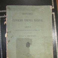 Libros antiguos: LIBRO ESTUDIO EXPOSICION VINICOLA NACIONAL 1877. Lote 50109381