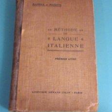 Libros antiguos: MÉTHODE DE LANGUE ITALIENNE. PRIMER LIVRE. MASSOUL ET MAZZONI. Lote 50112967