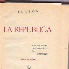 Libros antiguos: LA REPÚBLICA. TOMO I. PLATÓN. SÁEZ HERMANOS. 1936. Lote 50117639