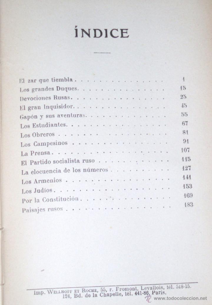 Libros antiguos: LA RUSIA ACTUAL- E. GÓMEZ CARRILLO 1906 GARNIER Hnos PARÍS - Foto 3 - 50122521