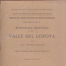 Libros antiguos: FERNÁNDEZ NAVARRO. MONOGRAFÍA GEOLÓGICA VALLE DEL LOZOYA. MADRID. 1915. Lote 50134987