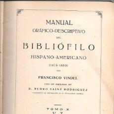 Libros antiguos: MANUAL GRÁFICO-DESCRIPTIVO DEL BIBLIÓFILO HISPANO-AMERICANO (1475-1850). TOMO X. V-Z. MADRID 1931. Lote 50400604