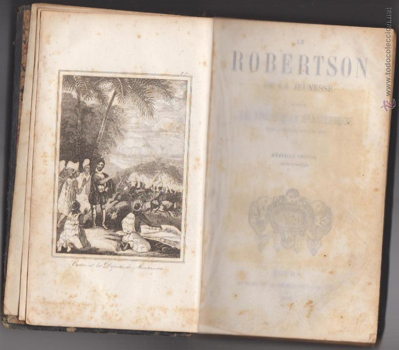 Libros antiguos: Le Robertson de la Jeunesse. Abrégé de L´Histoire D´Amerique. Tours 1851. - Foto 3 - 50619891