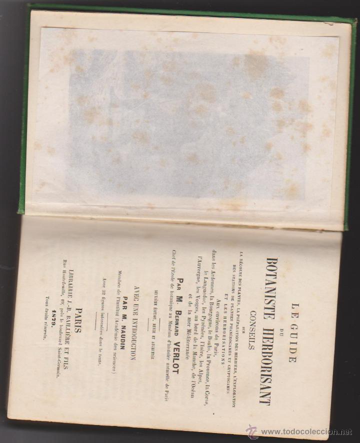 Libros antiguos: Guide du Botaniste Herborisant. B. Yerlot. Paris 1879. - Foto 2 - 50739188