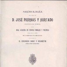 Libros antiguos: SANZ Y ESCARTIN, E: NECROLOGIA DEL ILMO. SR. D. JOSE PIERNAS Y HURTADO. 1912. Lote 50761555