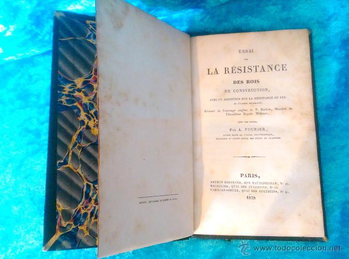 Libros antiguos: ESSAI SUR LA RESISTANCE DES BOIS DE CONSTRUCTION, PETER BARLOW, A. FOURIER 1828 - Foto 2 - 50858480