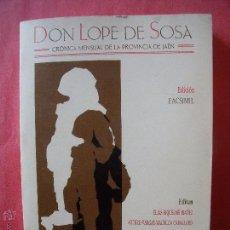 Libros antiguos: DON LOPE DE SOSA.-FACSIMIL.-ARTE.-CULTURA.-JAEN Y PROVINCIA.-18 TOMOS DESDE 1913 HASTA 1930.. Lote 51095031