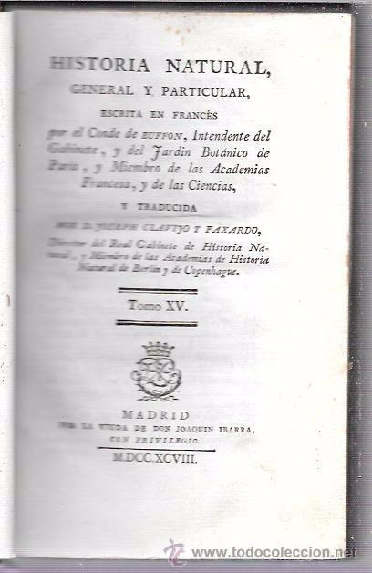 BUFFON. HISTORIA NATURAL, GENERAL Y PARTICULAR. TOMO XV. MADRID, 1798. ESCRITA EN FRANCÉS. (Libros Antiguos, Raros y Curiosos - Ciencias, Manuales y Oficios - Otros)