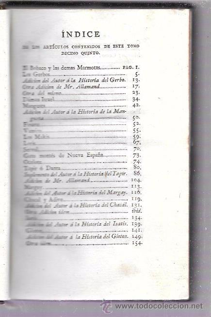 Libros antiguos: BUFFON. HISTORIA NATURAL, GENERAL Y PARTICULAR. TOMO XV. MADRID, 1798. ESCRITA EN FRANCÉS. - Foto 5 - 53893308