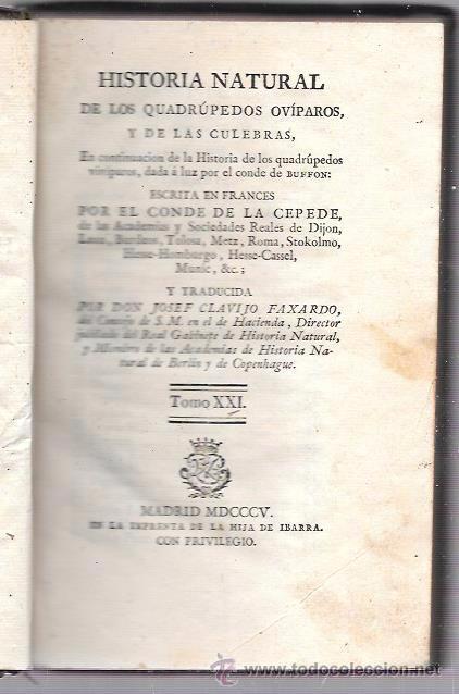 BUFFON. HISTORIA NATURAL, GENERAL Y PARTICULAR. TOMO XXI. MADRID, 1805. ESCRITA EN FRANCÉS. (Libros Antiguos, Raros y Curiosos - Ciencias, Manuales y Oficios - Otros)