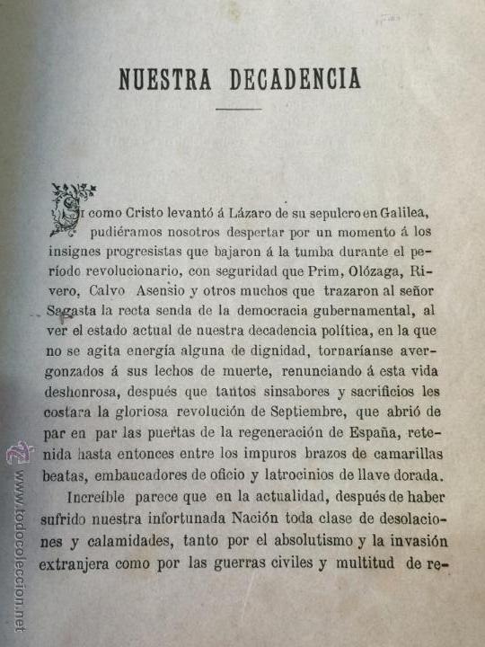 Libros antiguos: Las desdichas de la patria - Vital Fite 1899 - Foto 7 - 51393343