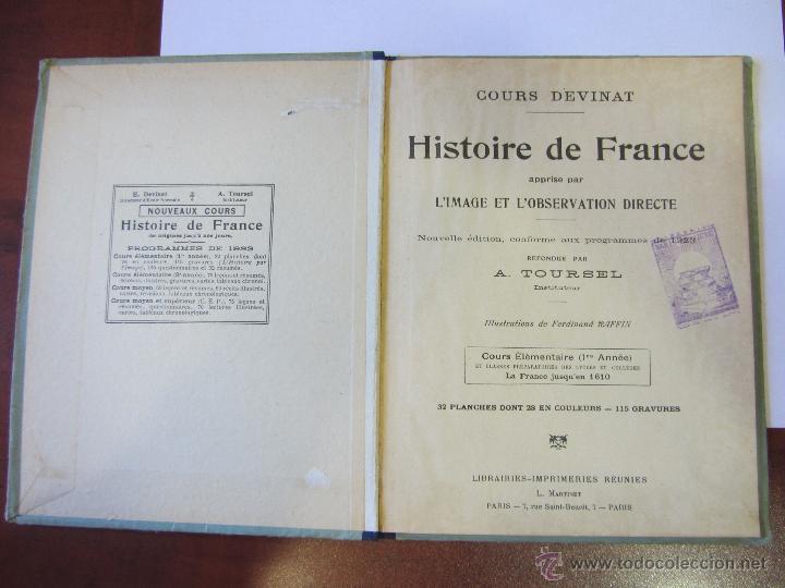 Libros antiguos: Histoire de France. Cours Devinat. 1923 - Foto 2 - 51471447