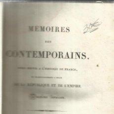 Libros antiguos: MÉMORIES DES CONTEMPORAINS. BOSSANGE FRÈRES LIBRIERES. PARÍS. 1825. Lote 51684435