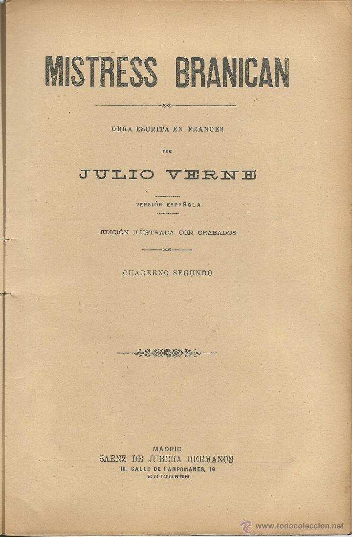 Libros antiguos: JULIO VERNE - MISTRESS BRANICAN- CUADERNOS 2º - 3º y 4º - EDIT.SAENZ DE JUBERA - Foto 2 - 51814155