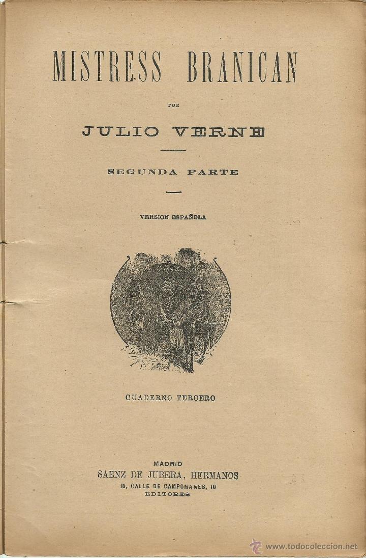 Libros antiguos: JULIO VERNE - MISTRESS BRANICAN- CUADERNOS 2º - 3º y 4º - EDIT.SAENZ DE JUBERA - Foto 4 - 51814155