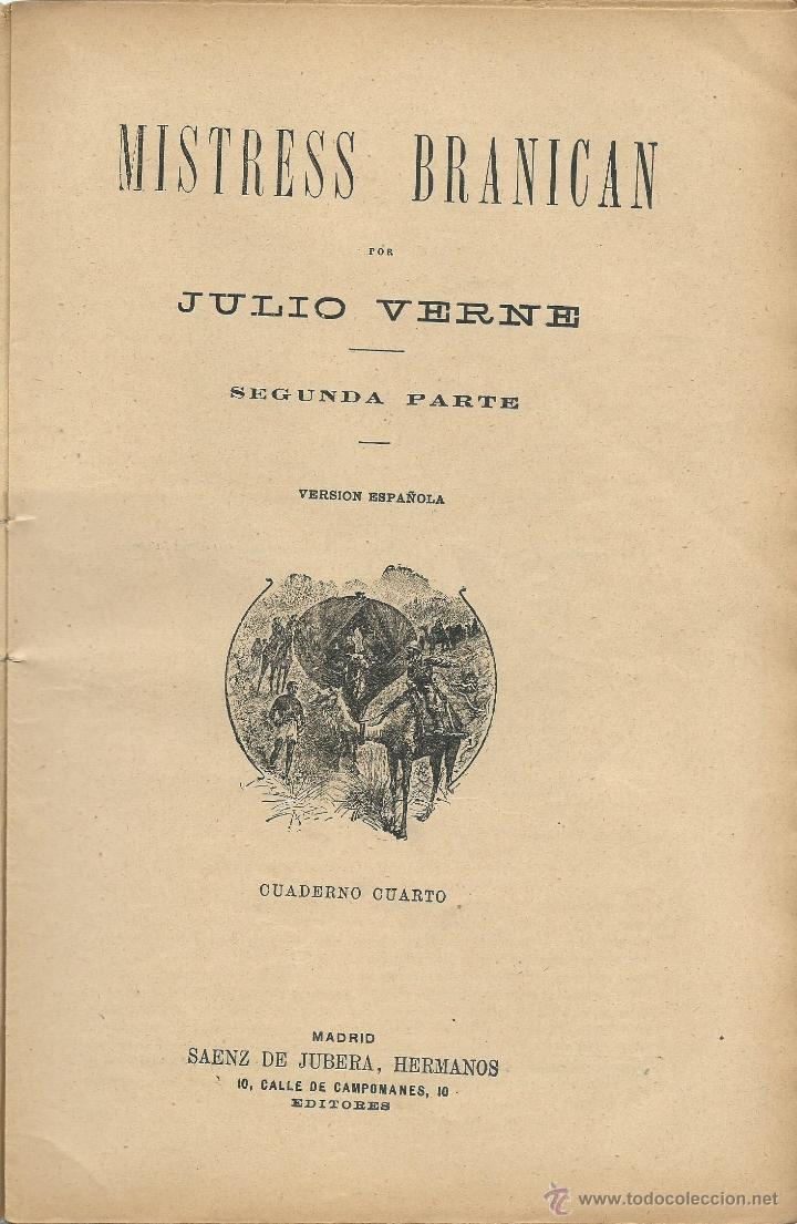 Libros antiguos: JULIO VERNE - MISTRESS BRANICAN- CUADERNOS 2º - 3º y 4º - EDIT.SAENZ DE JUBERA - Foto 6 - 51814155