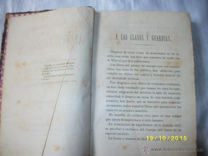 Libros antiguos: MANUAL PRACTICO DE ACTUACIONES Y EXPEDIENTES SUMARIOS PARA LA GUARDIA CIVIL 1878 - Foto 8 - 52032347