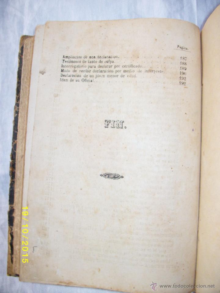 Libros antiguos: MANUAL PRACTICO DE ACTUACIONES Y EXPEDIENTES SUMARIOS PARA LA GUARDIA CIVIL 1878 - Foto 9 - 52032347