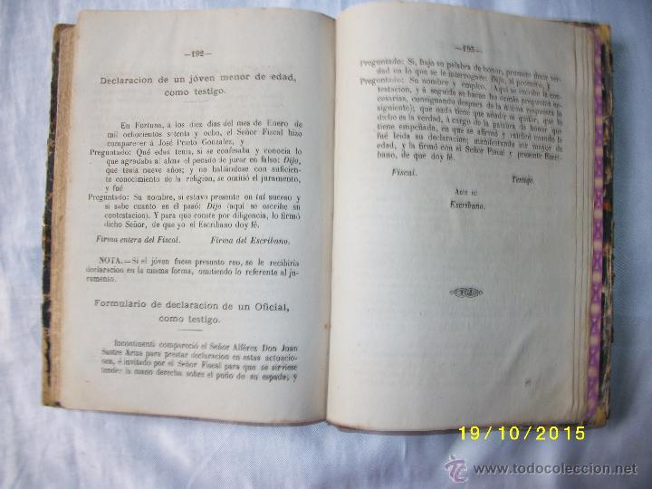 Libros antiguos: MANUAL PRACTICO DE ACTUACIONES Y EXPEDIENTES SUMARIOS PARA LA GUARDIA CIVIL 1878 - Foto 11 - 52032347