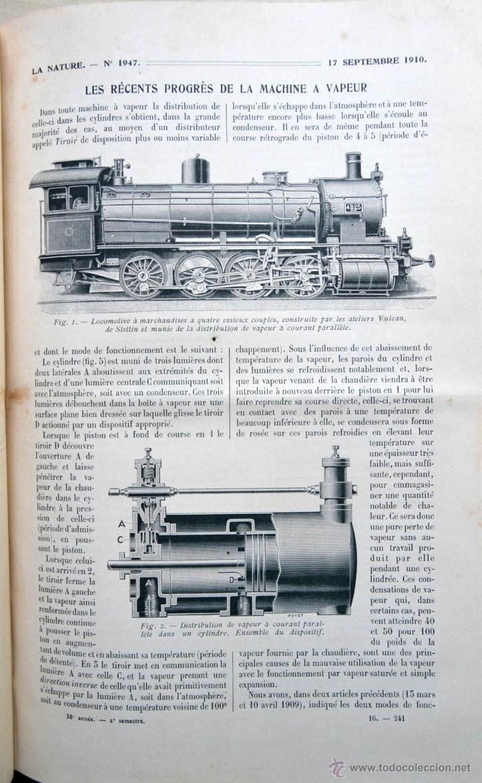 Libros antiguos: LA NATURE REVUE DES SCIENCES AÑO 1910 REVISTA DEDICADA A TODAS LAS CIENCIAS * GRABADOS - Foto 5 - 52067294