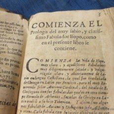 Libros antiguos: LIBRO DE LA VIDA Y FABULAS DEL SABIO Y CLARISIMO FABULADOR ISOPO. SIGLO XVIII. INCOMPLETO. Lote 52146260