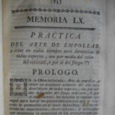 Libros antiguos: ARTE DE EMPOLLAR Y CRIAR AVES DOMESTICAS HACER CAPONES.REAUMUR.AÑO 1778.VETERINARIA. Lote 52167345