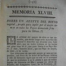 Libros antiguos: SOBRE LOS ACEITES DE ORIGEN VEGETAL PARA SUPLIR A LOS OLIVOS FRANCHEVILLE .AÑO 1778 .AGRICULTURA. Lote 52168021