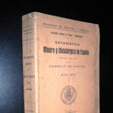 Libros antiguos: ESTADISTICA MINERA Y METALURGICA DE ESPAÑA FORMADA Y PUBLICADA POR ELCONSEJO DE MINERIA / 1933. Lote 52350524