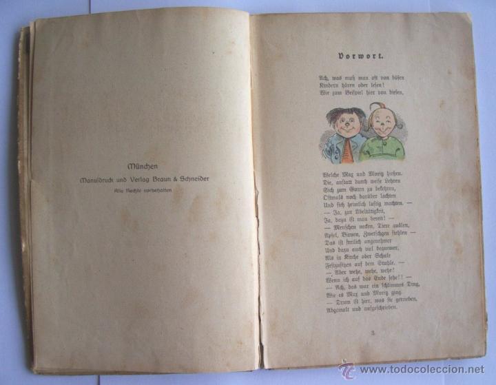 Libros antiguos: ANTIGUO LIBRO INFANTIL MAX Y MORITZ EN ALEMÁN GÓTICO - ENVÍO GRATIS DESDE URUGUAY - Foto 3 - 52492289