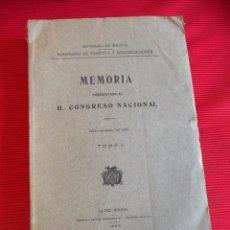 Libros antiguos: MEMORIA PRESENTADA AL H. CONGRESO NACIONAL - TOMO I - 1924 - BOLIVIA. Lote 52516746