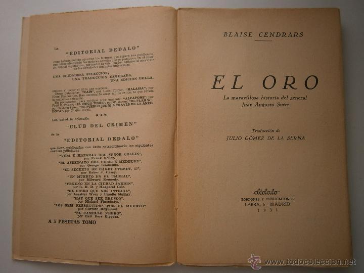 Libros antiguos: EL ORO BLAISE CENDRARS Dedalo 1 edicion 1931 - Foto 8 - 52576700