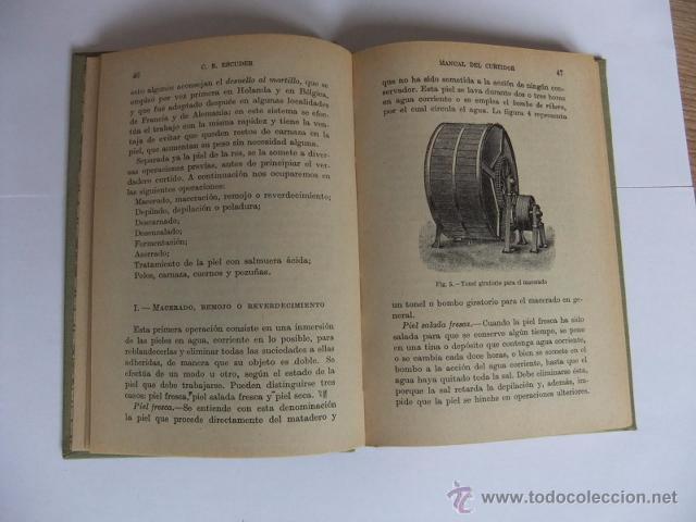 Libros antiguos: Manual del Curtidor y Nociones de Peletería. Manuales Gallach. 1935. Buen estado - Foto 2 - 52609012